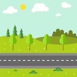 Сельский ландшафт с иллюстрацией вектора дороги Стоковое Изображение RF