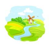 Сельский ландшафт с мельницей Стоковая Фотография