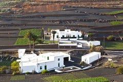 Сельский дом в зоне культивирования террасы в Лансароте Стоковые Изображения RF