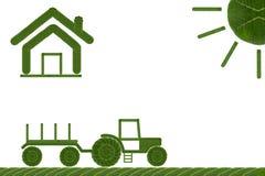 Сельский дом значка лист формы карты Стоковое фото RF