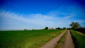 Сельский дом и поле Стоковое Изображение