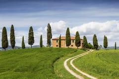 Сельский дом с кипарисами вокруг, Тоскана Стоковые Изображения