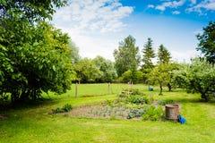 Сельский сад с лугом стоковые фото