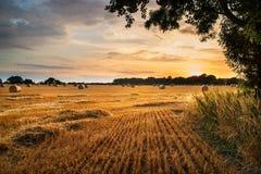 Сельское изображение ландшафта захода солнца лета над полем связок сена Стоковые Изображения RF