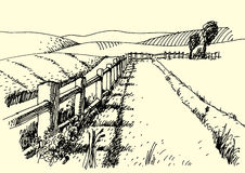Сельское изображение ручки чернил ландшафта - вектор бесплатная иллюстрация