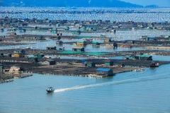 Сельское хозяйство рыб морепродуктов, рыбозавод на море, Fujiang, Китае стоковое изображение