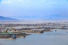 Сельское хозяйство рыб морепродуктов, рыбозавод на море, Fujiang, Китае стоковая фотография