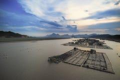 Сельское хозяйство рыб морепродуктов, рыбозавод на море, Fujiang, Китае стоковое изображение rf