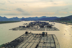 Сельское хозяйство рыб морепродуктов, рыбозавод на море, Fujiang, Китае стоковые фотографии rf