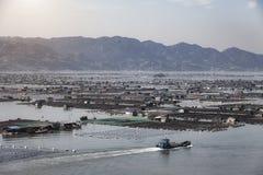 Сельское хозяйство рыб морепродуктов, рыбозавод на море, Fujiang, Китае стоковые изображения