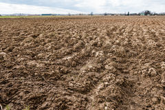 сельскохозяйственне угодье Furrows на аграрном крае Стоковое Изображение RF