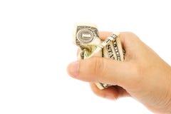 Сжатие руки женщины скомканное одно ƒ ¹ billà доллара Стоковая Фотография