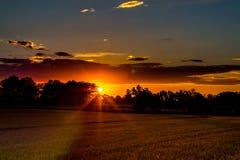 Сжатое поле зерна на сельской местности на заходе солнца Стоковая Фотография