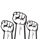 Сжатые кулаки поднятые в векторе протеста иллюстрация штока