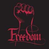 Сжатый кулак держал максимум в протесте с рукописной свободой слова Свобода надписи литерности иллюстрация вектора
