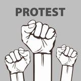 Сжатый кулак, который держат в иллюстрации вектора протеста Свобода Стоковое Изображение RF