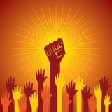 Сжатый кулак, который держат в концепции протеста Стоковое Изображение RF