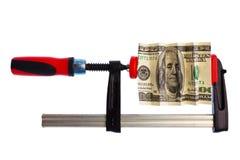сжатый доллар струбцины счета Стоковое Фото