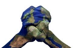 Сжиманные руки сделанные по образцу с Европой составляют карту (обеспеченный NASA) Стоковое Изображение