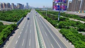 Сиань, Китай, 16-ое мая 2017, ВОЗДУШНАЯ съемка движения двигая дальше мосты, Сиань, Китай видеоматериал