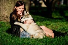 Сибирская лайка и она предприниматель Стоковая Фотография RF