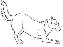 Сибирская лайка, маламут Собака играет Линия чертеж Для красить иллюстрация вектора