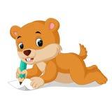Сибирский бурундук шаржа держа карандаш Стоковые Фотографии RF