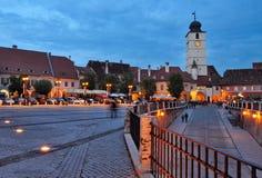 Сибиу - взгляд ночи - Румыния Стоковое фото RF
