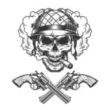 Сигара винтажного monochrome черепа солдата куря иллюстрация штока