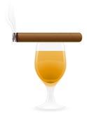 Сигара и спиртные пить vector иллюстрация иллюстрация вектора