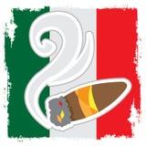 Сигара на предпосылке мексиканского флага бесплатная иллюстрация