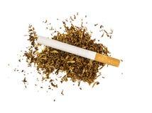сигарета лежит на части сухого табака Стоковые Фотографии RF