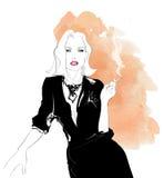 Сигарета обольстительной женщины куря иллюстрация штока