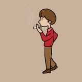 Сигарета человека куря Стоковое Изображение