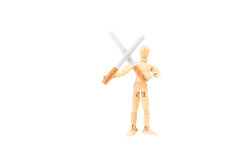 2 сигареты в перекрестной форме держа деревянным человеком вычисляют, прекращенное ` курящ концепцию ` Стоковая Фотография
