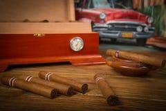 Сигары и хьюмидор Стоковые Фото