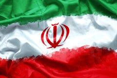 Сигнализируйте исламскую республику Ирана кистью акварели на ткани холста, стиль grunge Стоковое фото RF