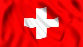 Сигнализируйте Швейцарию развевая в символе швейцарца ветра иллюстрация вектора