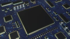 Сигналы двигая через голубой PCB платы с печатным монтажом Анимация электроники родственная схематическая иллюстрация вектора