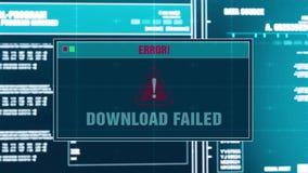 90 Сигнал тревоги загрузки предупредительного сообщения прогресса файлов загрузки неудачный на экране иллюстрация вектора
