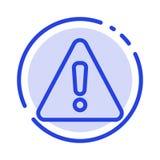 Сигнал тревоги, опасность, предупреждение, линия значок голубой пунктирной линии знака иллюстрация штока