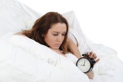 сигнал тревоги с сонной женщины поворотов Стоковая Фотография RF