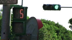 Сигнал светофора с пешеходным перекрестным графиком прогулки в зеленое счёт в обратном направлении время пересечь в Тайбэй, Тайва сток-видео