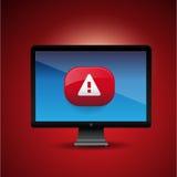 Сигнал тревога вируса подписывает внутри браузер интернета Стоковая Фотография