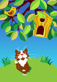 Сидя кот смотря птицу Стоковое Изображение