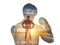 Сила и определение бизнесмена бойца двойная экспозиция Стоковая Фотография RF