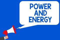 Сила и энергия текста сочинительства слова Концепция дела для индустрии распределения электричества несколько линиев электрическо иллюстрация штока