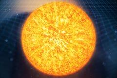 сила тяжести Солнця иллюстрации 3D гнет космос вокруг его с влиянием bokeh Сила тяжести концепции деформирует решетку космическог Стоковое Фото