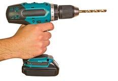 сила человека удерживания сверла электрическая Стоковое Изображение RF