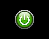 сила черной кнопки предпосылки зеленая Стоковая Фотография